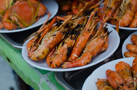 The Floating Markets in Thailand - Grilled Shrimp